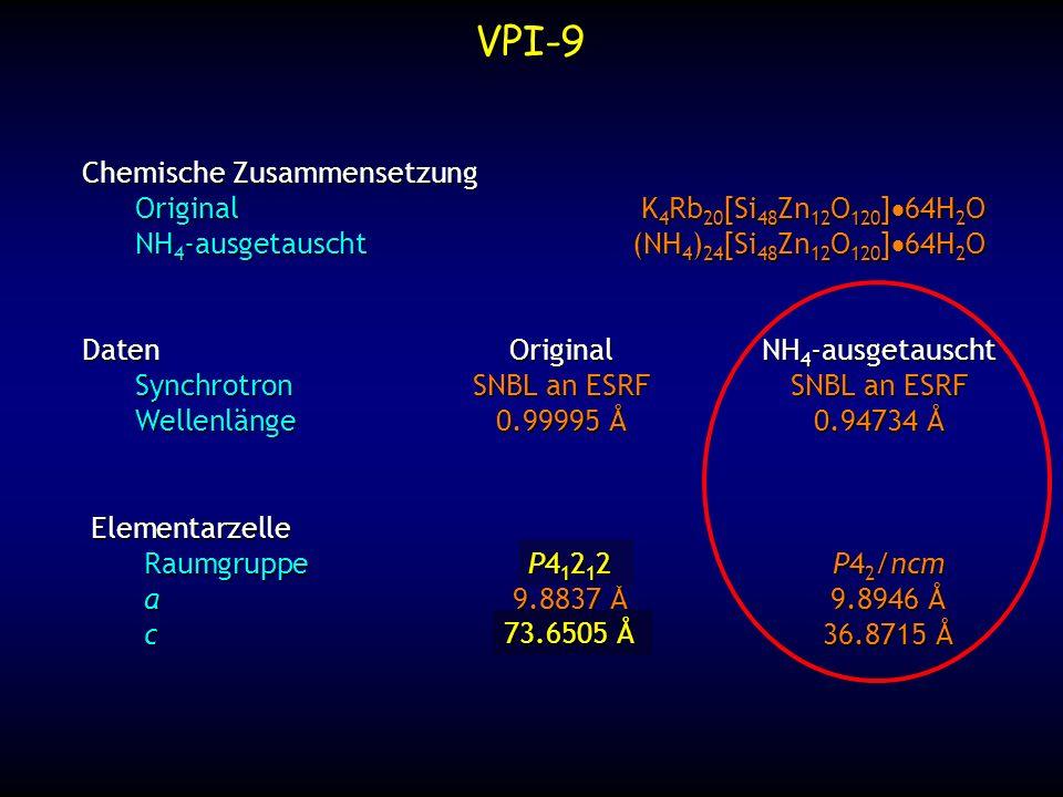 VPI-9 Chemische Zusammensetzung Original K4Rb20[Si48Zn12O120]·64H2O